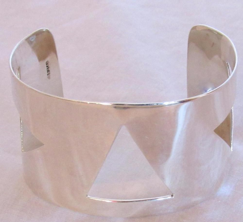 Handcrafted sterling silver cuff bracelet triangle design