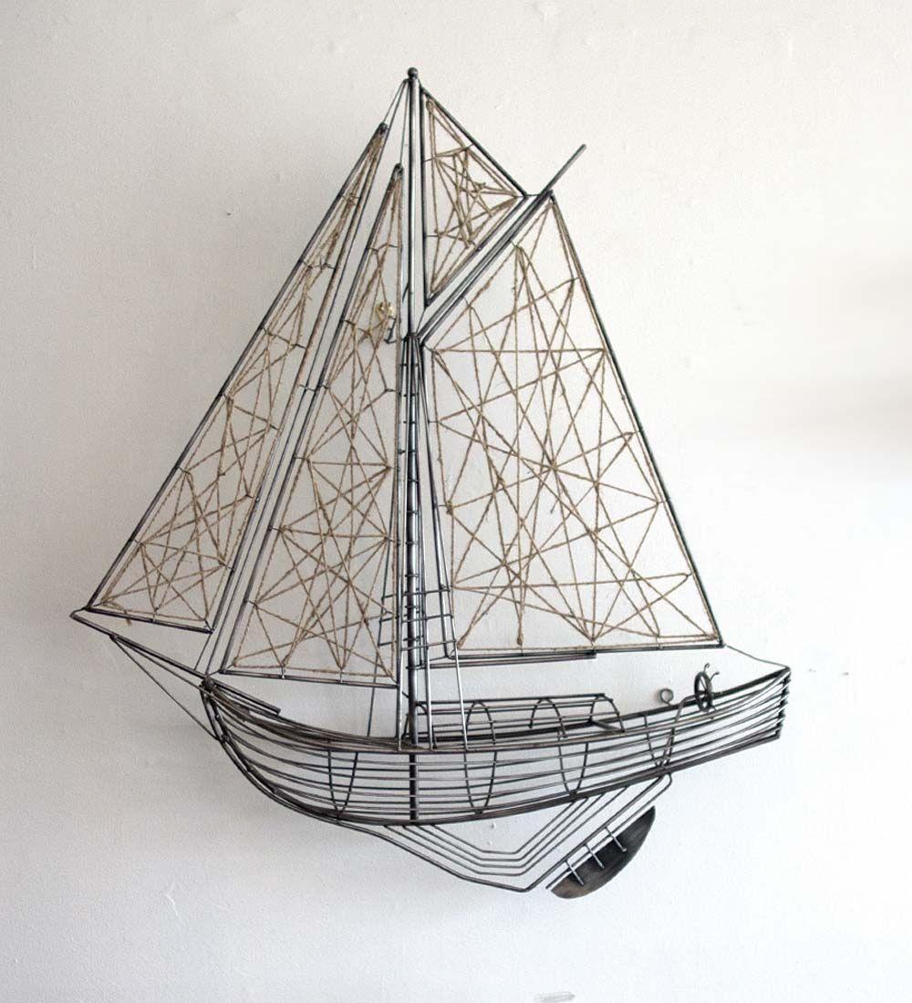 Metal u0026 Jute Sailboat Sculpture. Framed Wall ArtWall ...  sc 1 st  Pinterest & 129.95-Metal and Jute Sailboat Sculpture 39W X 6.50D X 43 | Art ...
