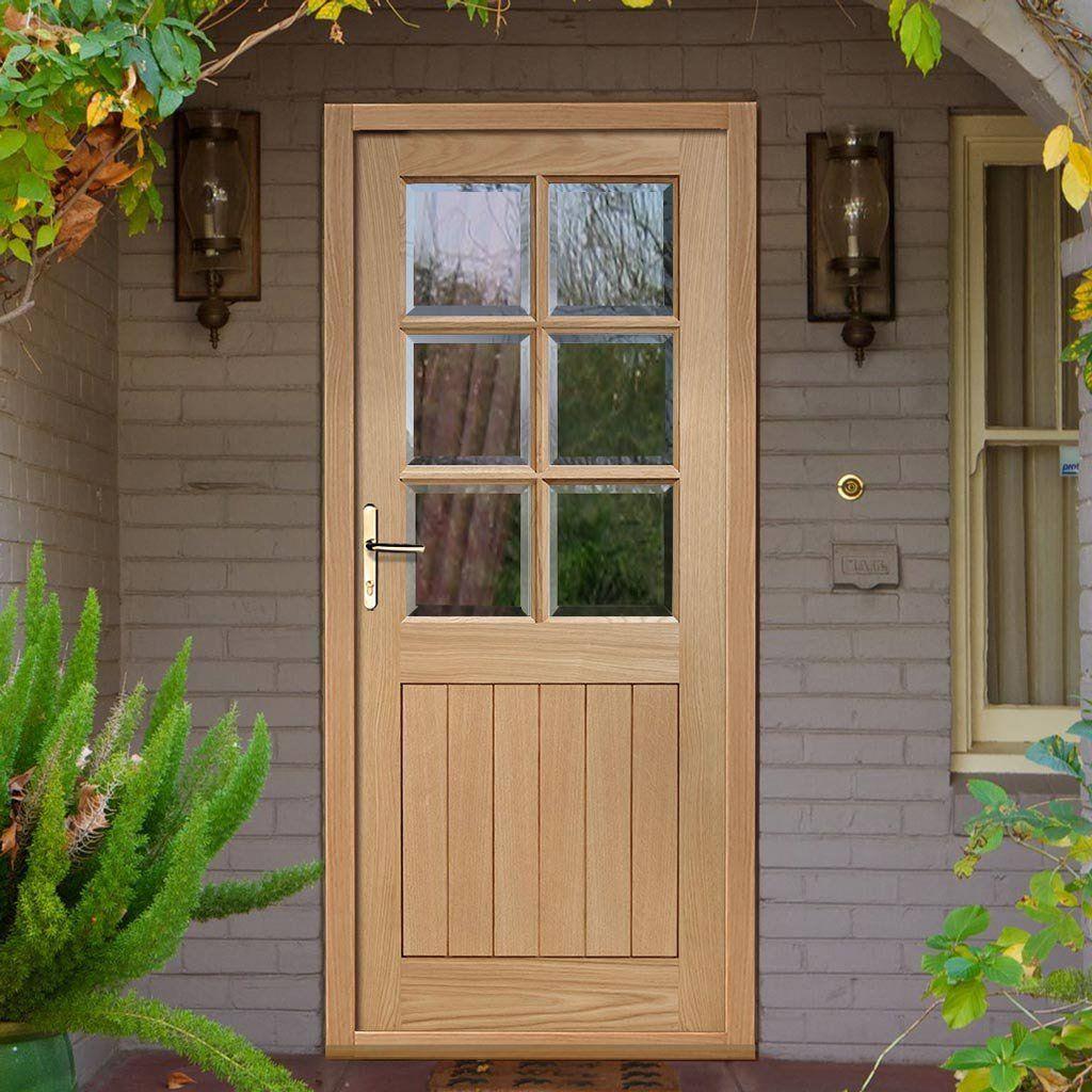 Cottage 6 Pane Oak Door With Clear Double Glazing Doors
