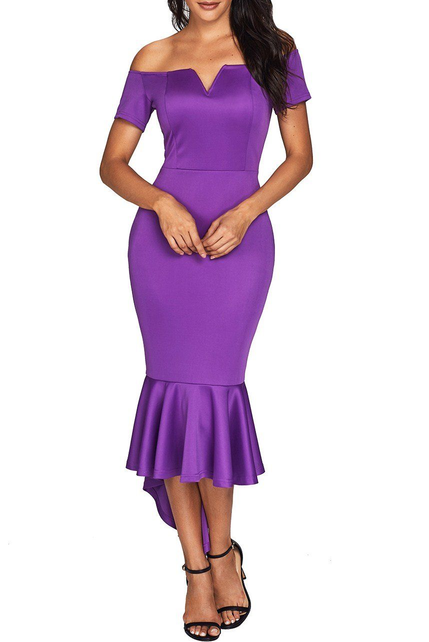 82b5f84cf171 Purple Off Shoulder Short Sleeve Party Mermaid Dress  24.99  Purple   HotSale  dresses  elegant