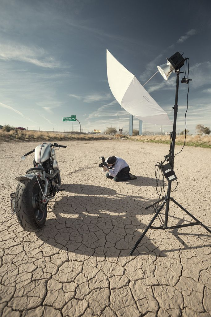 Motorcycle Vehicle Photo Shoot Setup #harley #davidson #motorcycle #setup #strobist #alienbee #vehicle
