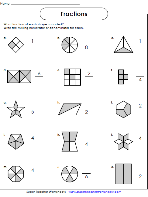 18 Beginning Fraction Worksheets 2nd Grade Fractions Worksheets Simple Fractions Super Teacher Worksheets