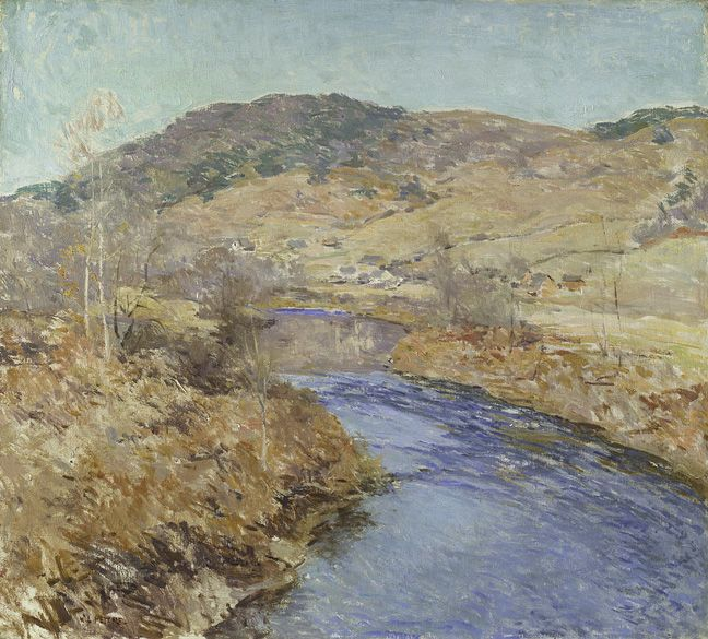 Willard Leroy Metcalf (1858–1925) November Morning, 1924 Oil on canvas, 26 x 29 1/8 inches Signed lower left: W. L. Metcalf. Signed, dated, and inscribed on verso: November Morning / W. L. Metcalf. / (Springfield. VT. 1924)
