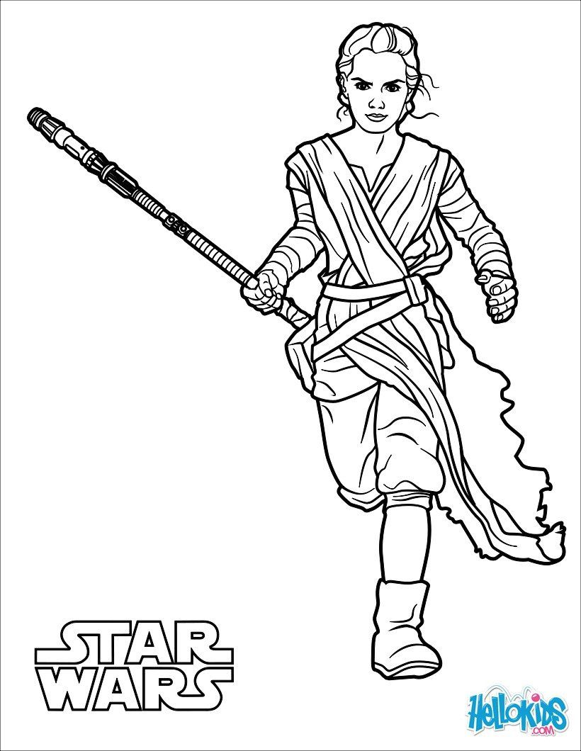 rey the force awakens coloring page
