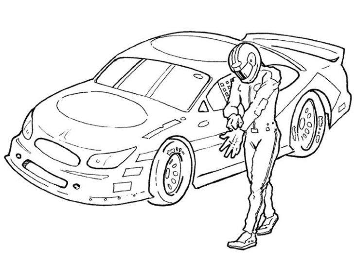 NASCAR Driver And His Car Coloring Page | Sports Coloring Pages ...
