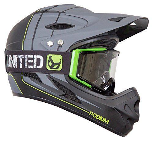 Demon Podium Full Face Mountain Bike Helmet Black With Black Supra Goggle Mountain Bike Helmets