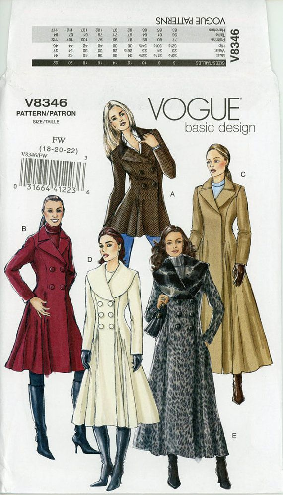 Princess Seam Coat Pattern Uncut Vogue V8346 Double Breasted Shawl ...