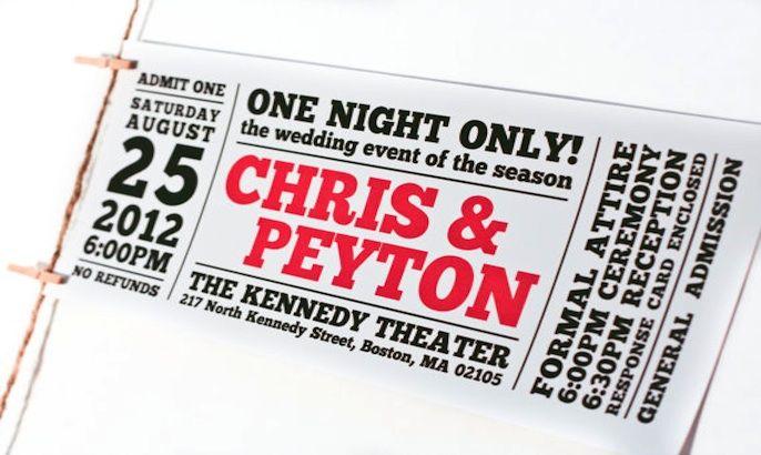 festival ticket inspired wedding invites, yep! Ideas Pinterest