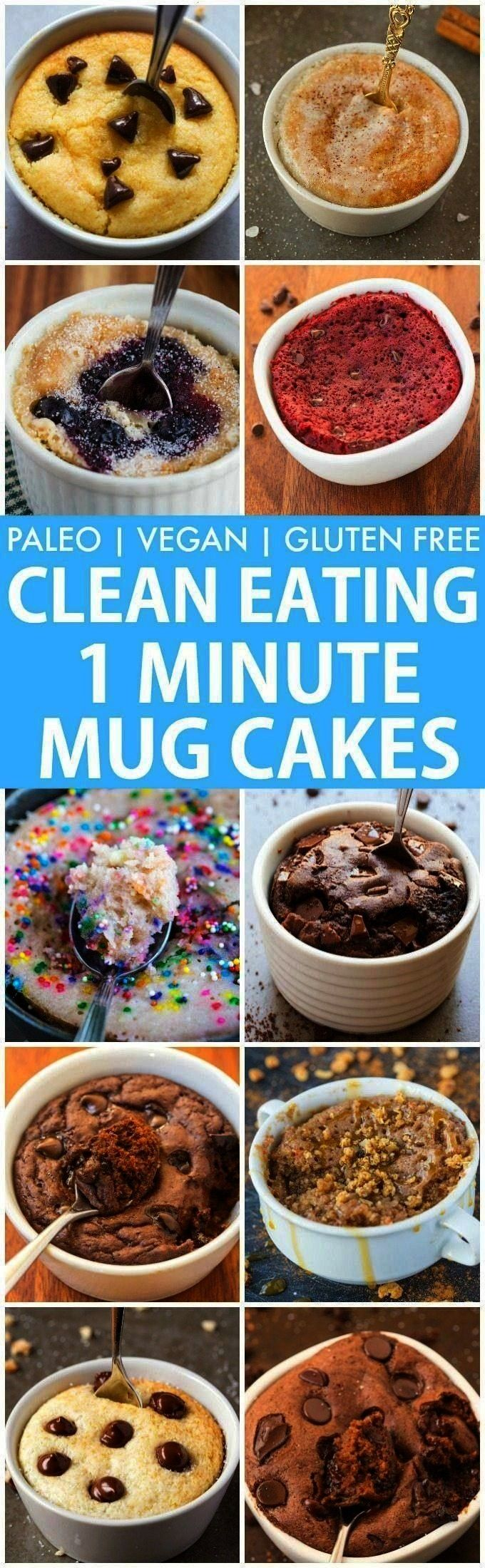1 Minute Mug Cakes, Brownies and Muffins (V, GF, Paleo)- De... Clean Eating Healthy 1 Minute Mug Ca