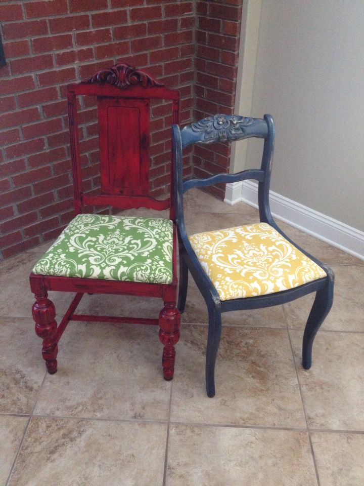 These colorful chairs are painted with Krylon spray paint, distressed, and glazed.