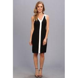 Anne Klein - Crepe Color Block Sheath Dress (Black) - Apparel - product - Product Review