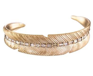4d2505c9d Luis Morais - Gold and Diamond Feather Cuff Bracelet in Designers Luis  Morais Bracelets at TWISTonline