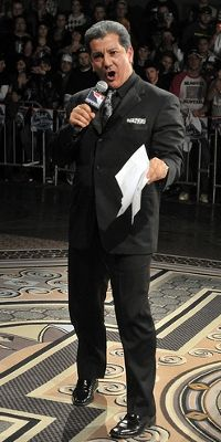Bruce Buffer. The veteran voice of the Octogon. I could recognize this guys voice anywhere. He never messes up.
