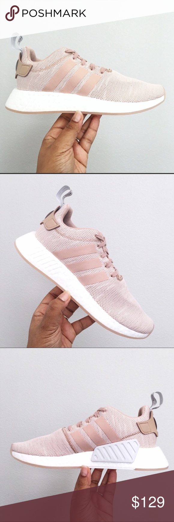 a94c11ca4 Adidas NMD R2 Ash Pearl Tan White Women s Size 9.5 Brand New in Box with Lid