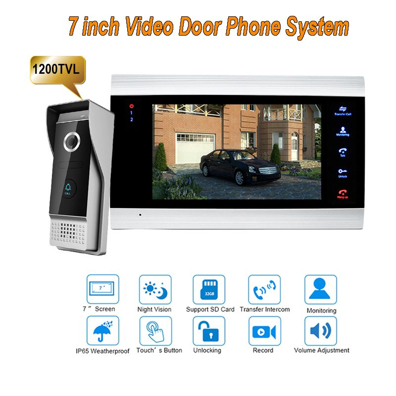 7 Inch Video Door Phone Recording Hd 1200tvl 1 Ir Night Doorbell Camera And 1 Hands Free Monitor Intercom Doorbell Video Door Phone Intercom Lcd Monitor