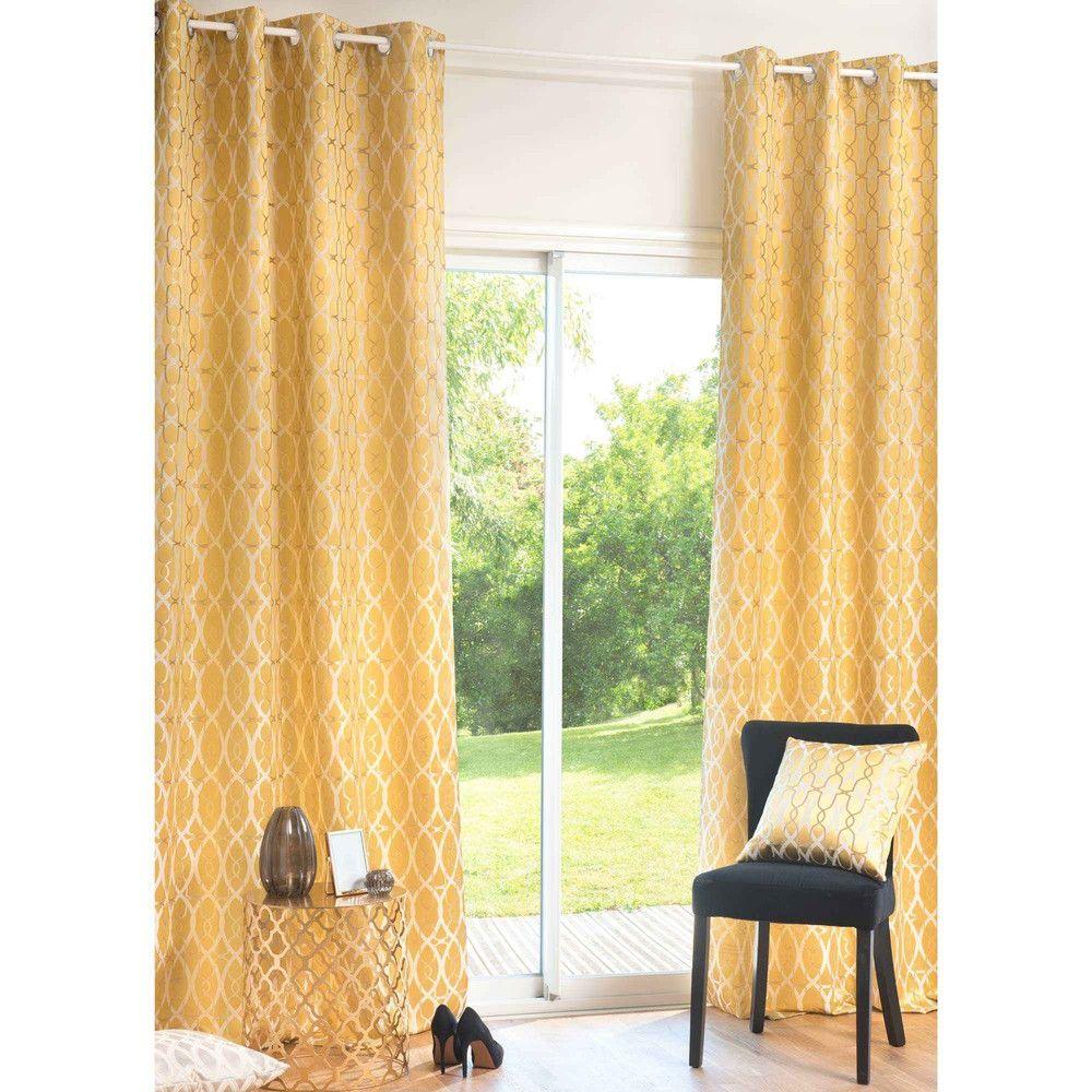 Sophisticated interiors and yellow curtains   VENISE ochre fabric ...