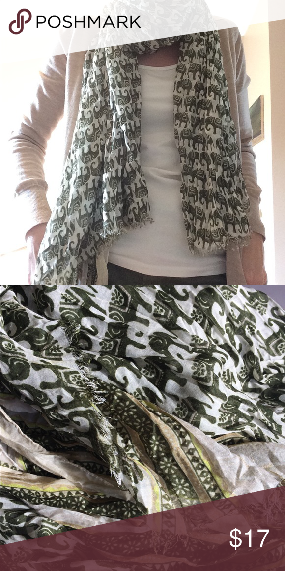 Banana Republic Elephant Safari Scarf Frayed edges, super soft, no tags, no snags or issues. Army green is the new neutral! Banana Republic Accessories Scarves & Wraps