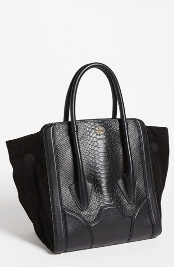 Pour La Victoire Butler Large Snake Embossed Leather Suede Tote Available At Nordstrom