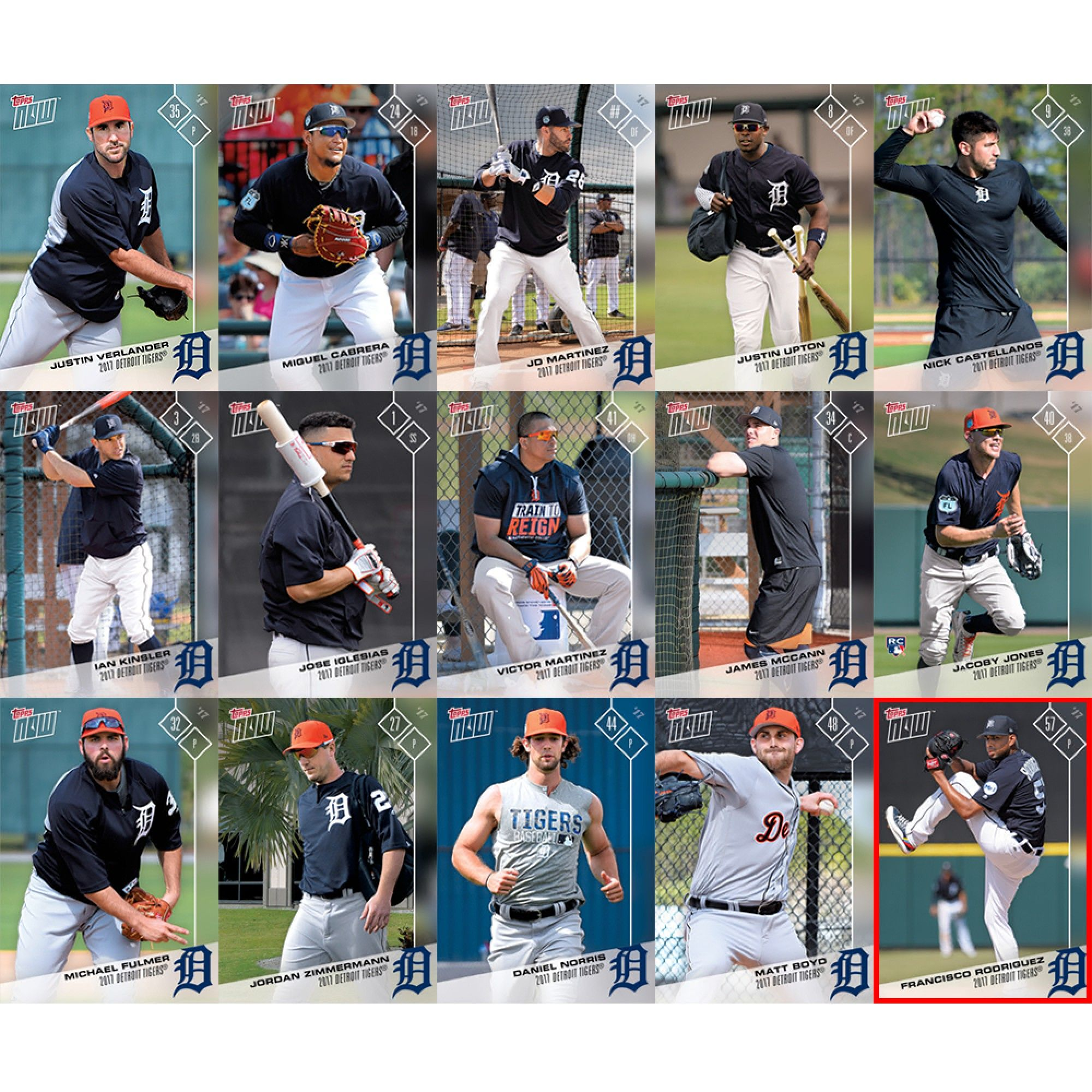 2017 Detroit Tigers Topps Now Road To Opening Day 15-Card Team Set