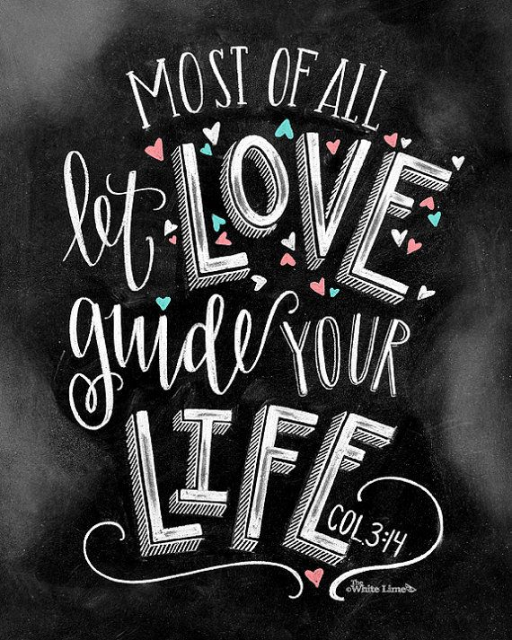 Love Sign Chalk Art Chalkboard Art Bible Verse Art By TheWhiteLime