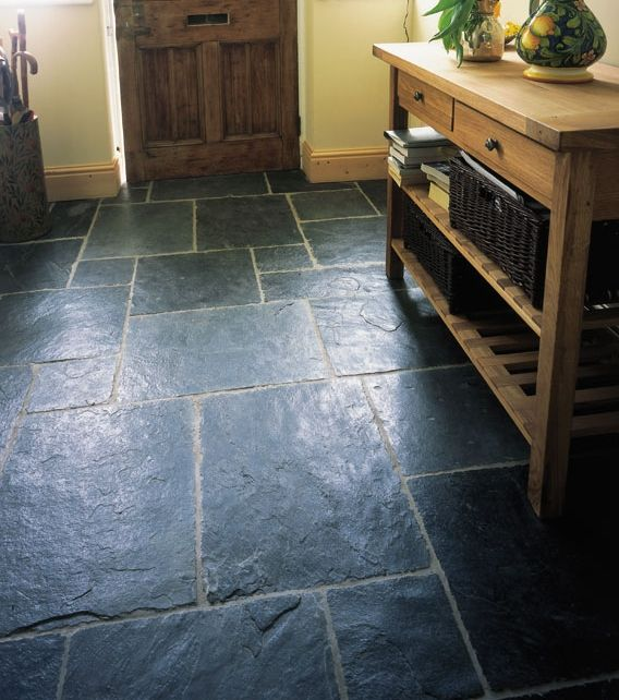 Solid Blue Black Slate Floor Tiles With A Riven Finish To