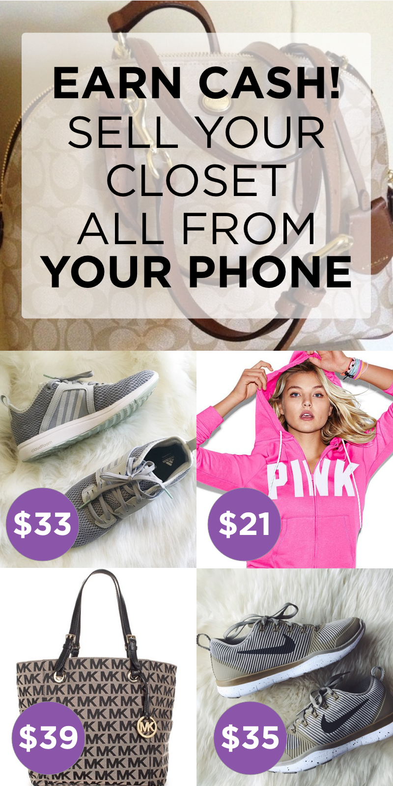 Install Poshmark now and Sell your Closet all from your