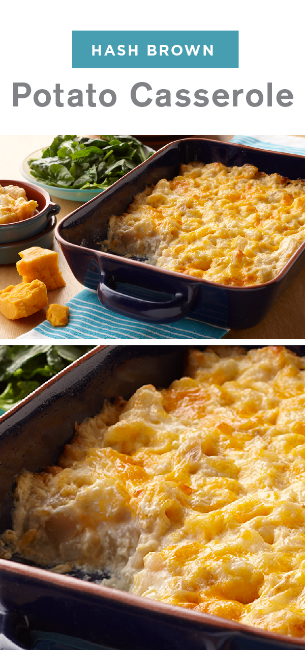 This Easy To Make Side Uses Convenient Products Like Frozen Hash Browns And Cream Of Potato Hashbrown Recipes Potatoe Casserole Recipes Campbells Soup Recipes