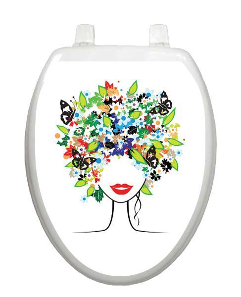 Toilet Tattoos Toilet Seat Lid Decoration Spring Lady  Vinyl Reusable   Blue #ToiletTattoos