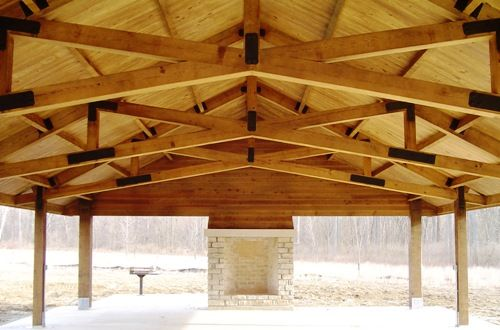 Picnic Shelters Fort Harrison Heavy Timber Scissor Truss Timber Framing Timber Frame Pavilion Timber Pergola