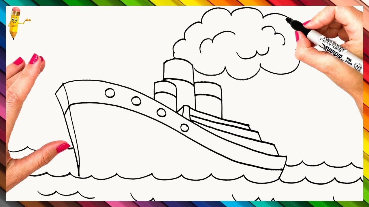 How To Draw A Big Ship Step By Step Big Ship Drawing Easy Easy Drawings Ship Drawing Drawings