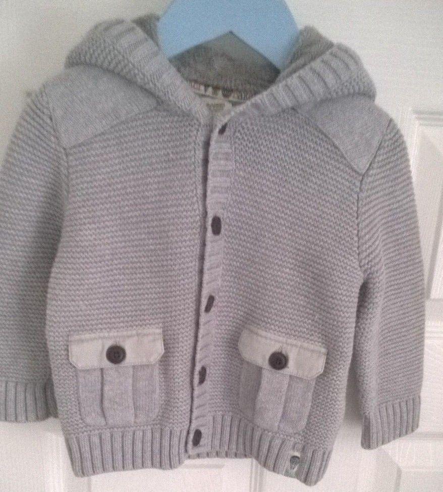 79eeb4f803e8 Baby Boys Ted Baker Grey Knit Cardigan Jacket with Fleece Lined Hood 9-12  months