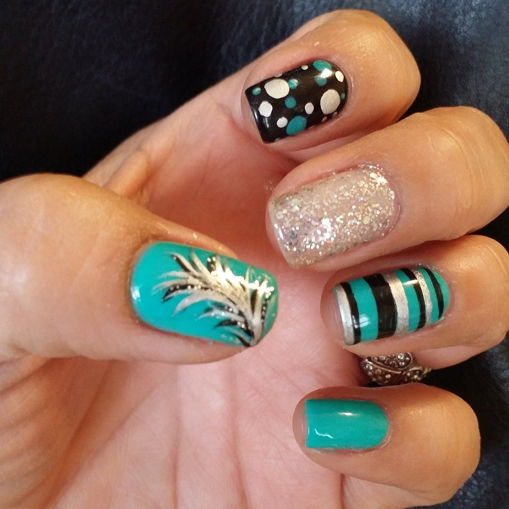 Nails by julia Gel Nails w/Great Art Design: Feather, Glitter ...