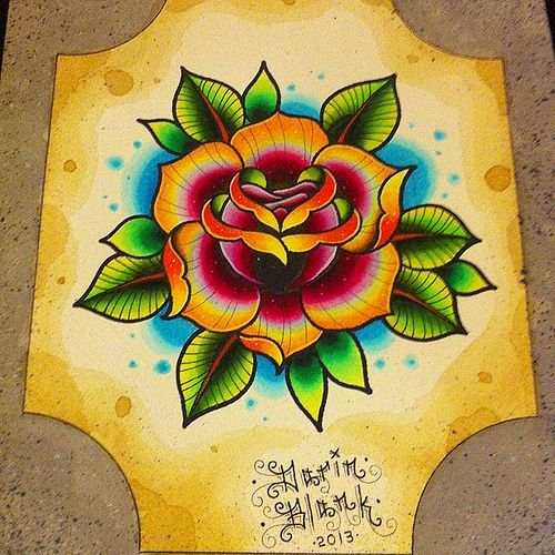 traditional rose tattoo - Google Search | tattoos ... American Traditional Yellow Rose Tattoo