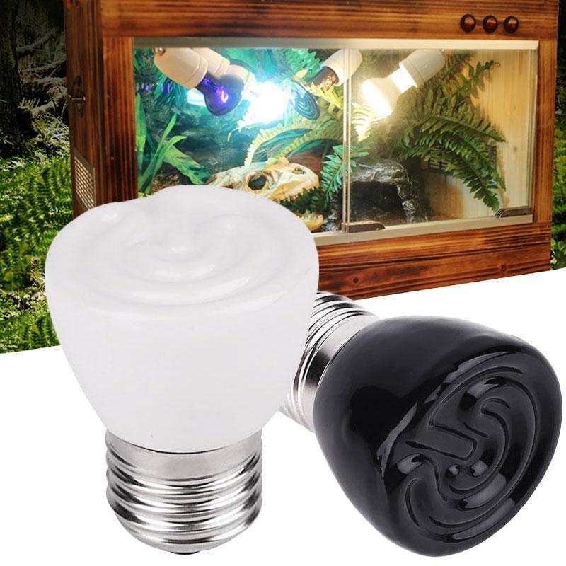 E27 100w Ceramic Infrared Reptile Brooder Heating Light Bulb Pet Product Black White Emitter Lamp Light Bulb Brooder Bulb