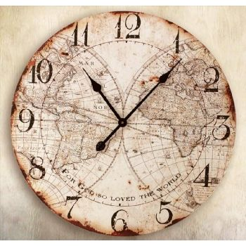 8132af970f3 For God So Loved The World Map Wall Clock at saveontapestries.com ...