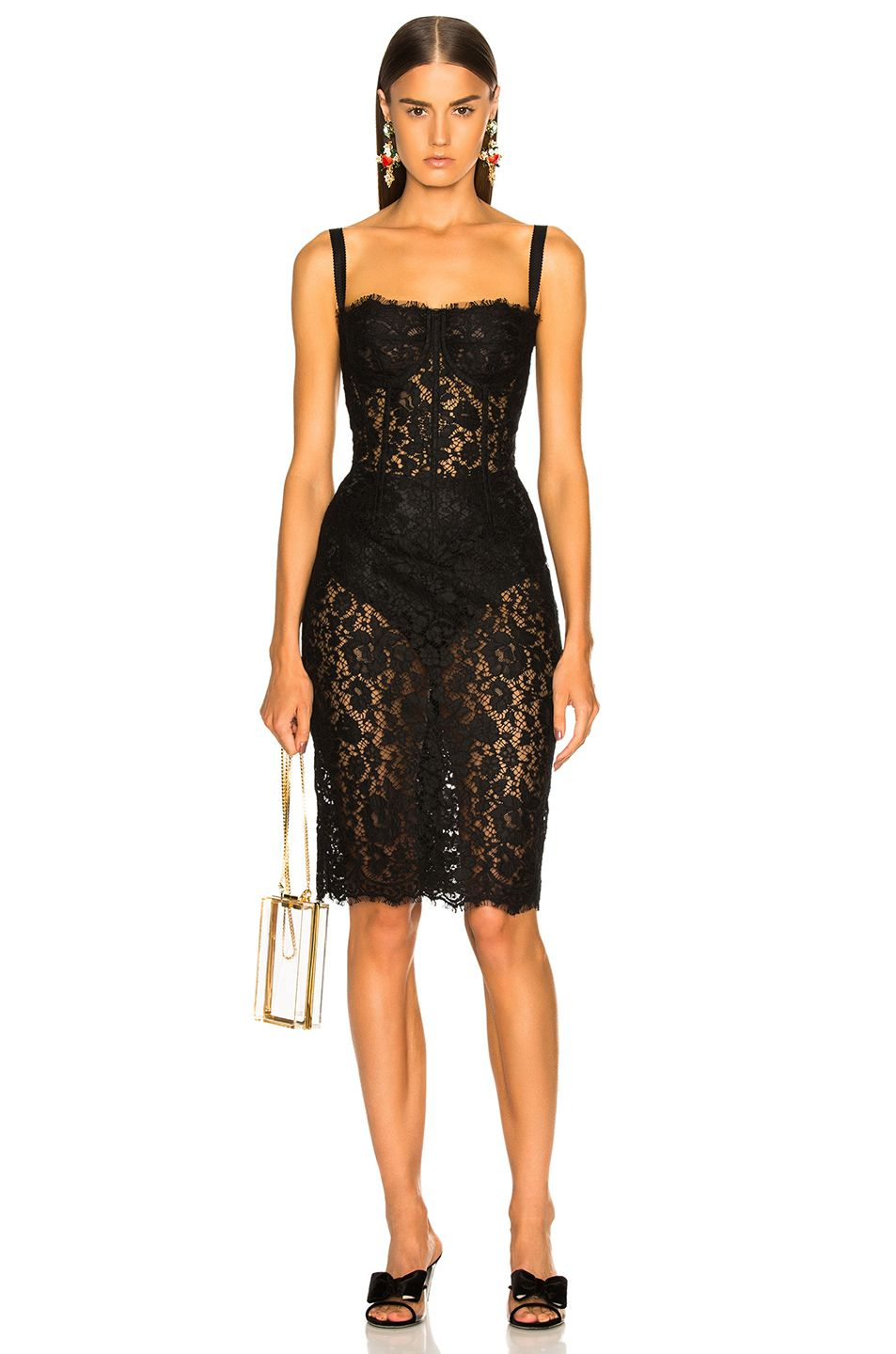 Image of dolce u gabbana lace bustier dress in black fashion and