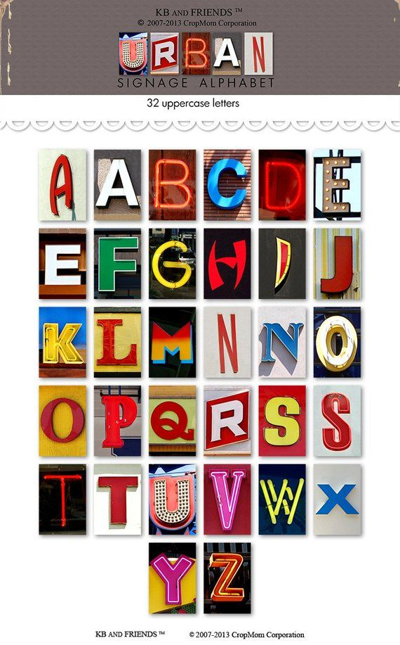 photo about Printable Letters for Signs referred to as Printable city signage alphabet / prompt down load / neon