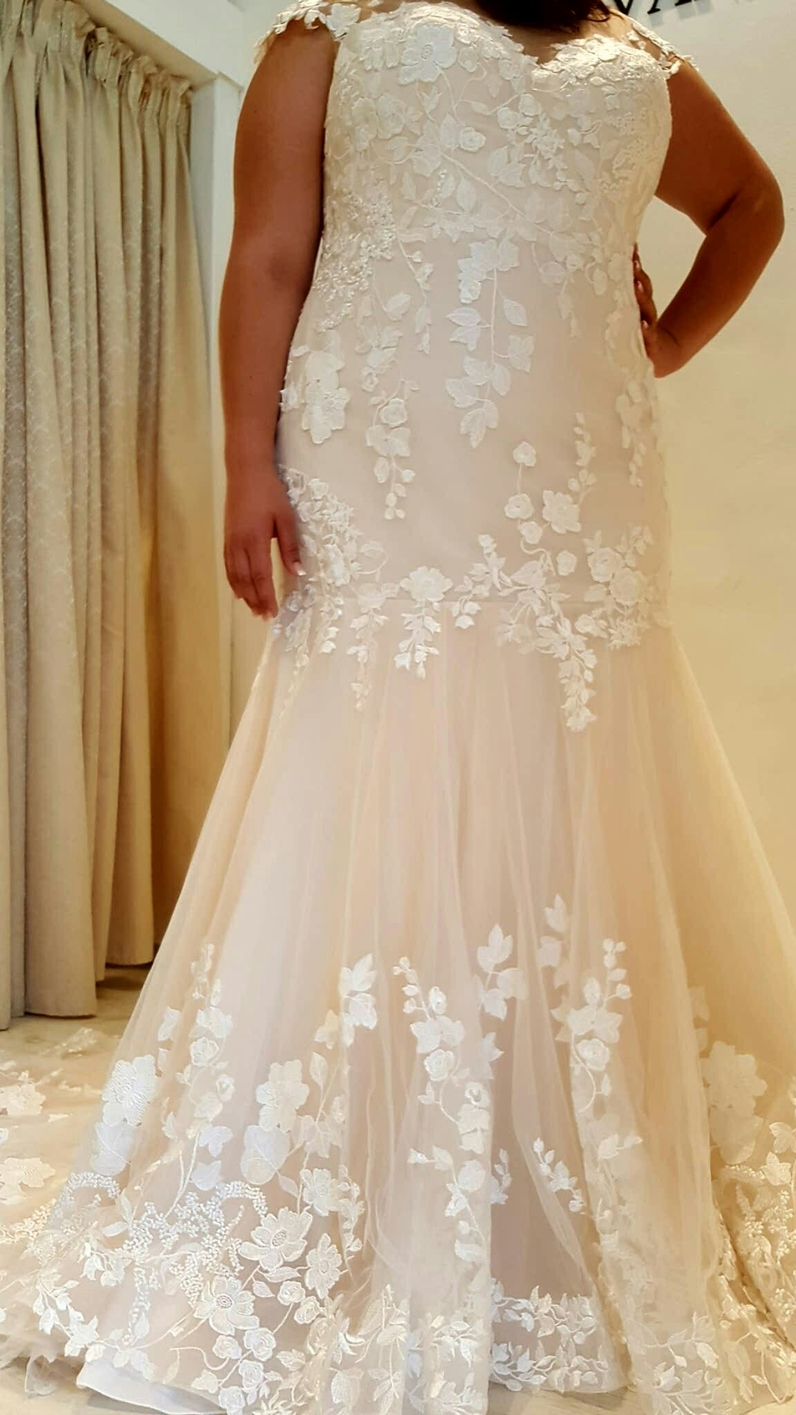 Rustic lace wedding dress  Plus size mermaid lace wedding gown with floral details Studio