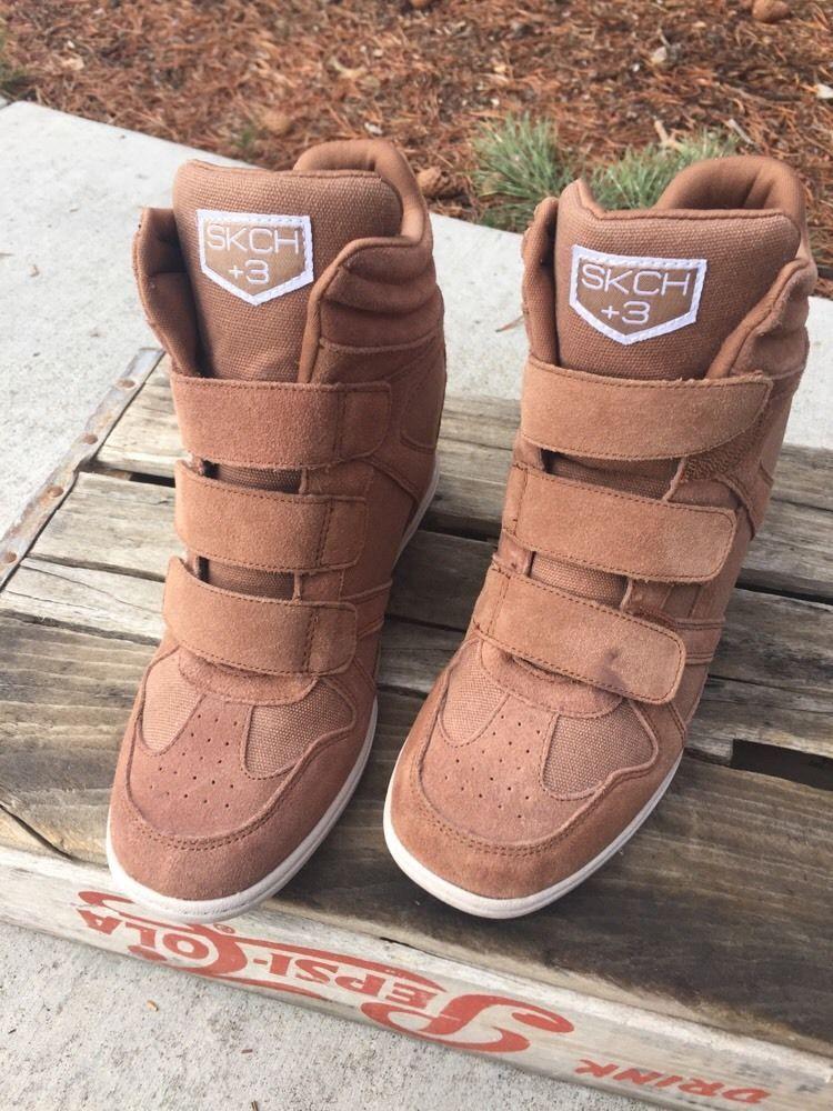 WOMEN'S SKECHERS SKCH 3 Suede Leather hidden Wedge Sneakers Burgundy Shoe 7