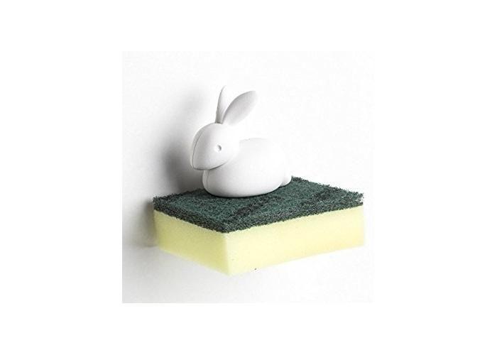 Este conejito te ayudará a detener la esponja cuando termines de lavar los trastes. Plástico Color: Blanco Incluye Esponja 10x8x10 cm