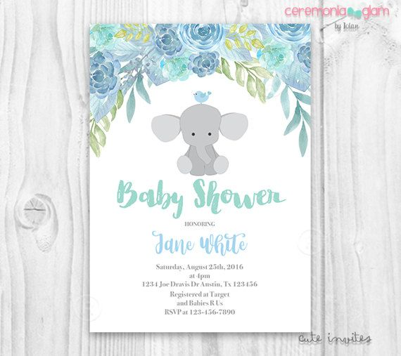 Elephant baby shower boy invitation blue floral baby shower boy elephant baby shower invitation boy baby shower by ceremoniaglam filmwisefo