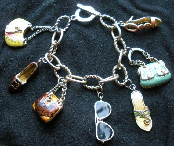 How Much Are Charm Bracelets: Colorful Gold Charm Bracelet-Sunglasses, Purse & Shoe