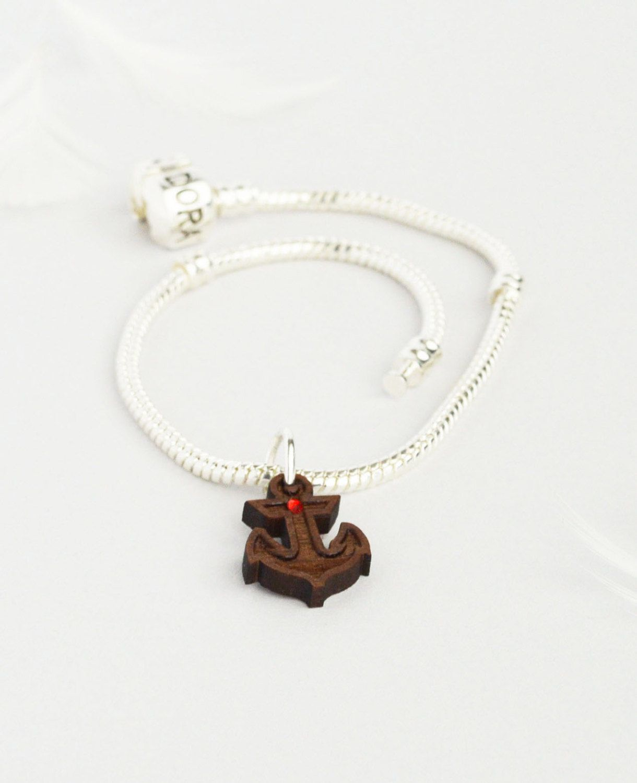 Wood Anchor Charms Pandora Bracelet Charm Disney Jewellery Bead Lasercut Jewelry Swarovski By Mishiuferris On