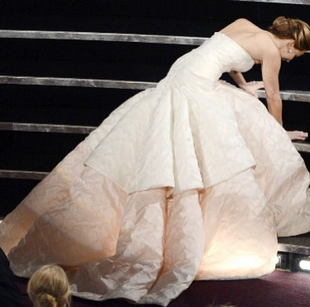 Jennifer Lawrence in Dior! So stunning even when tripping ...