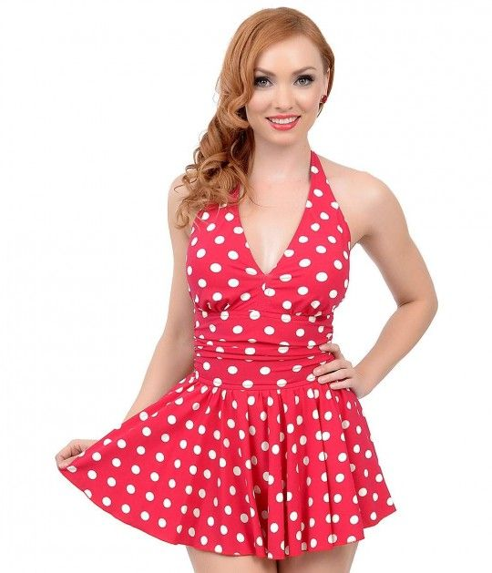 4925ab4e9c541 Esther Williams Vintage 1950s Style Pin-Up Red   White Dot Marilyn Swimdress