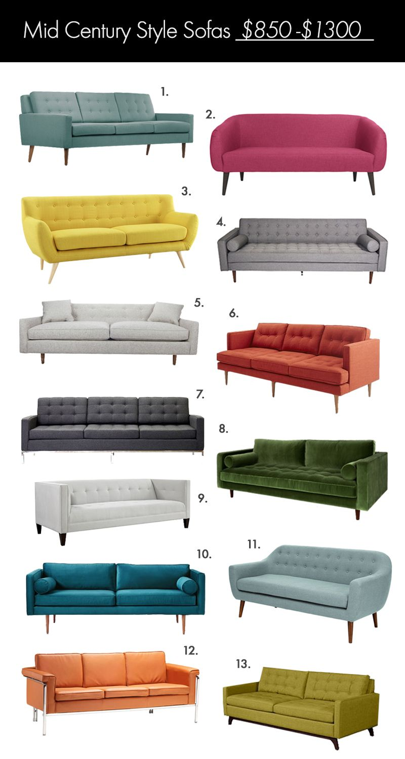 The Ultimate Mid Century Style Sofa Guide A Beautiful Mess Mid Century Style Sofas Mid Century Modern Living Room Mid Century Modern Living