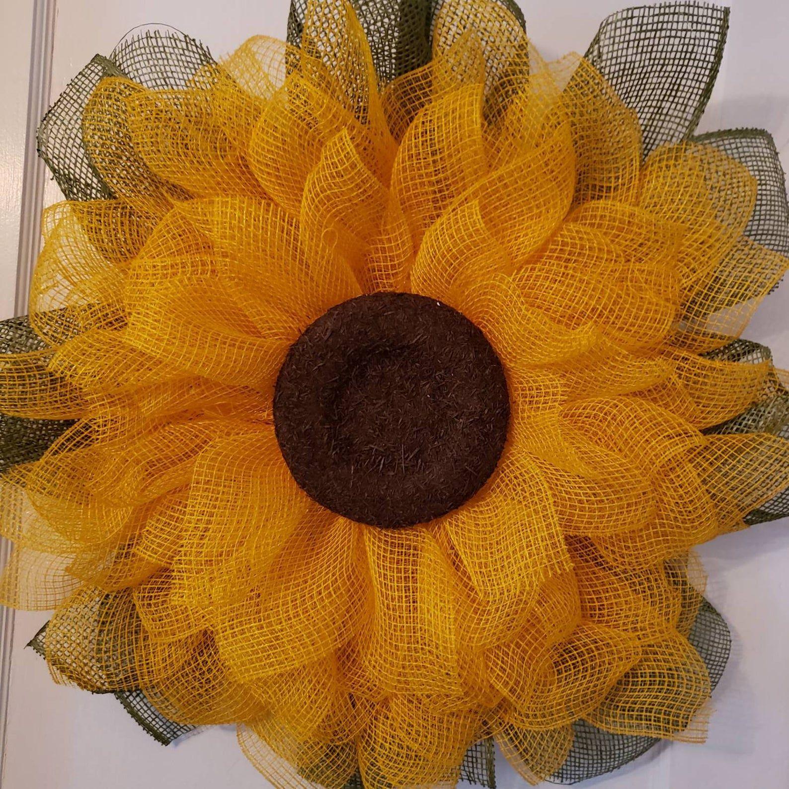 Photo of Flower wreath, sunflower wreath, spring wreath, summer wreath, front door wreath,