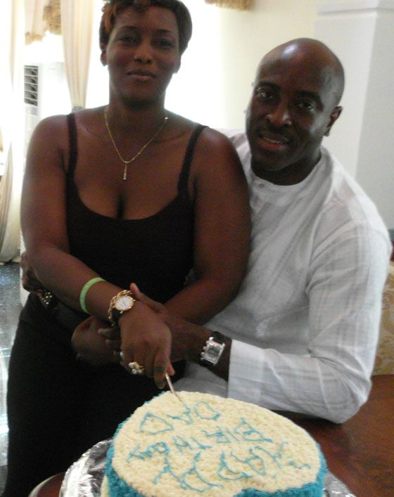 Celebrating his 47th birthday at home in Asaba, Delta State, Nigeria, Dr. Tony Nwaka wears his Audemars Piguet Edward Piguet Chronograph in whie gold. His wife, Bimbo Nwaka, wears her Patek Philippe Calatrava in yellow gold.