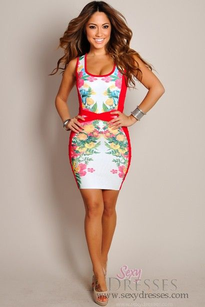 Sexy Blush Red Multi-Color Floral Print Panel Dress | cute clothes ...
