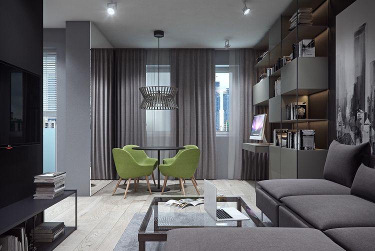 20 Qm Wohnzimmer Regalsystem Schreibtisch Mit Pc Led Wohnung Wohnzimmer Einrichten Wohnung Wohnzimmer